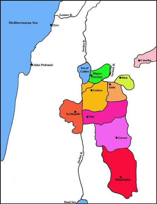 Mapa de las 10 decápolis