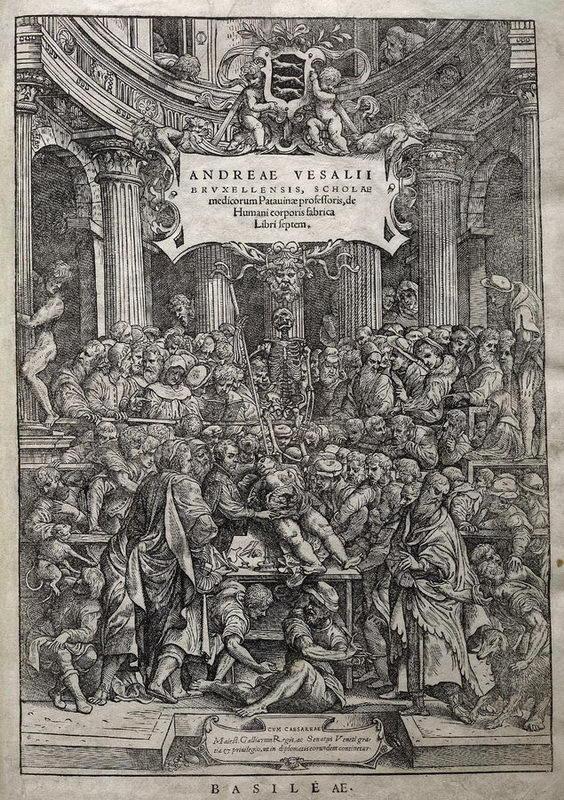 """Portada de libro """"De Humanis Corporis Fabrica"""" , de Andrés Vesalio"""