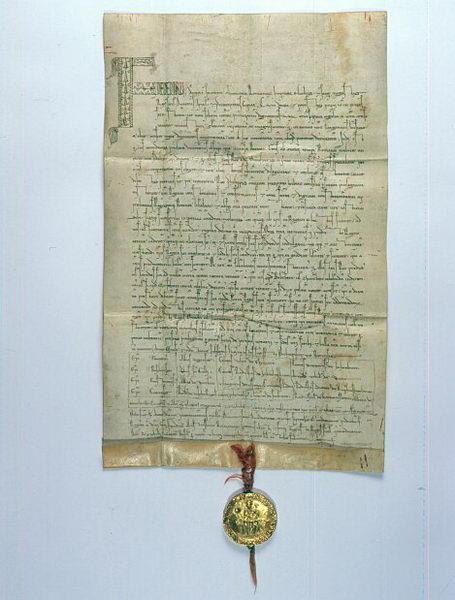 Bula de oro Sicilia de 1212 del Emperador Federico II a Premysl Otakar I, que le daba derecho a llevar la corona Checa