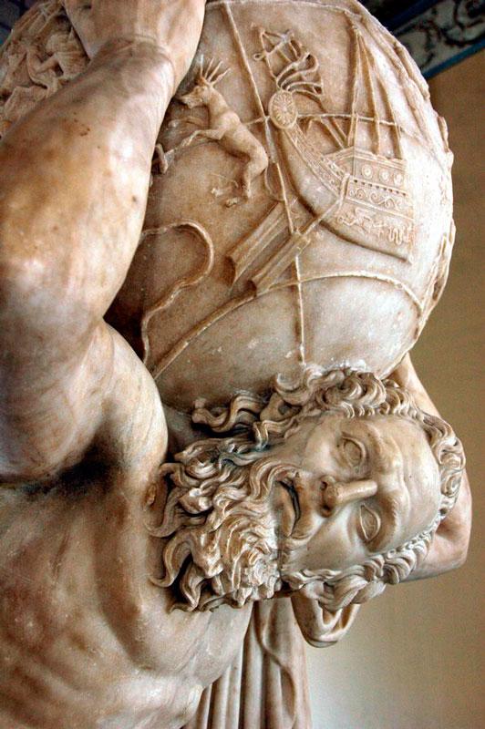 Escultura de Atlas con el mundo sobre los hombros (siglo II, Museo Arqueológico Nacional de Nápoles Italia).