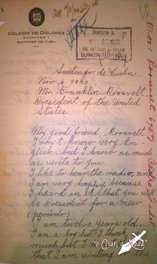 Carta de Fidel Castro a Roosvelt - Curiosidades de la Historia