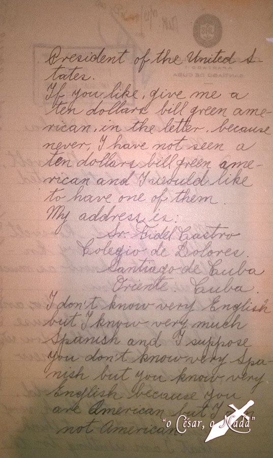 Carta de Fidel Castro a Roosvelt