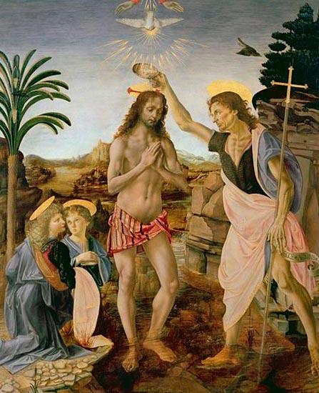 Bautismo de Cristo, Verrocchio y da Vinci.