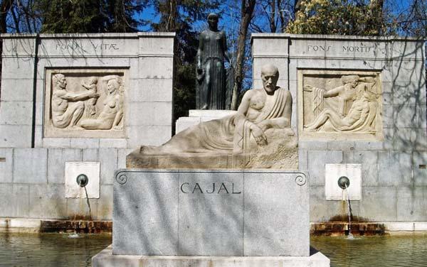 Monumento conmemorativo de Ramón y Cajal en el Retiro de Madrid .