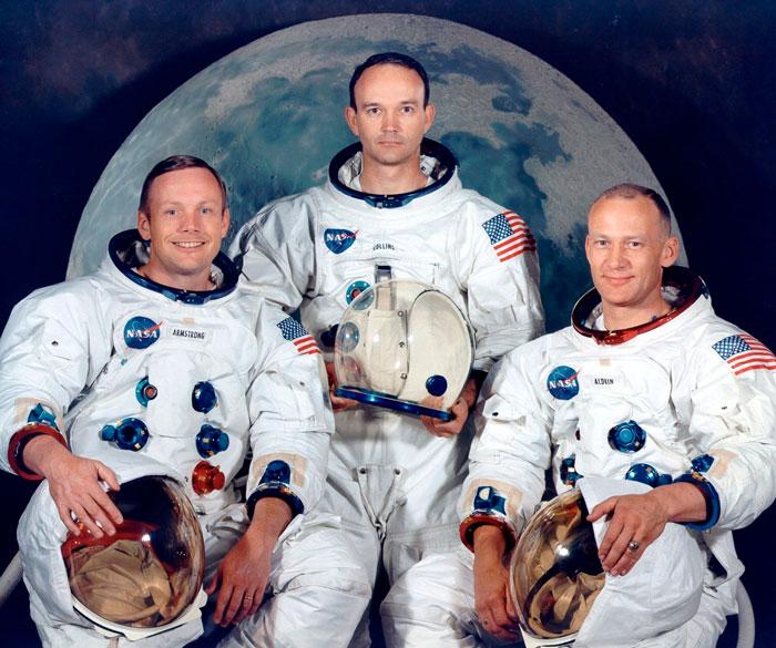 Tripulacion del Apolo XI, con Armstrong, Collins y Aldrin