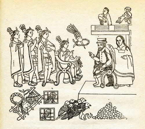 hernan cortes y Malinche con Moctezuma en Tenochtitlan, November 1519