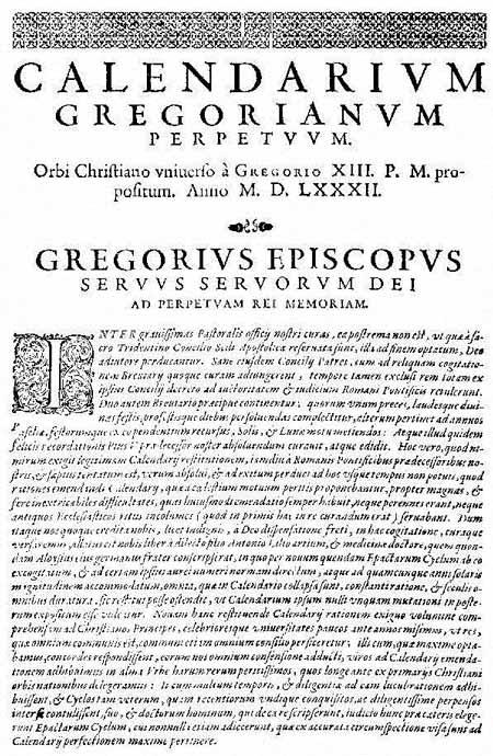 bula inter gravissimas gregorio xiii