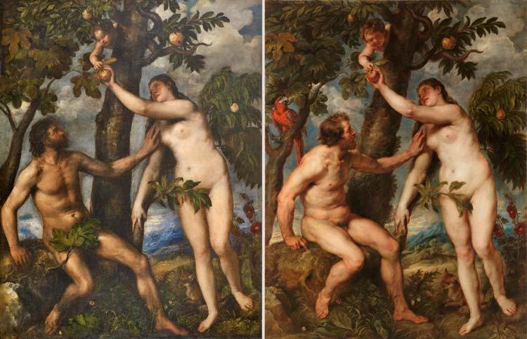 Adan y Eva Tiziano y Rubens