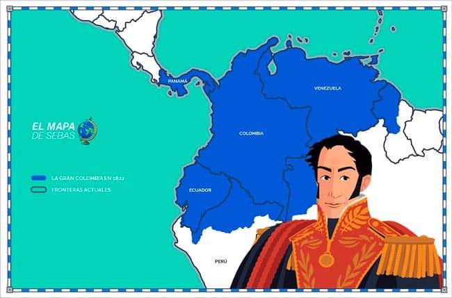 Mapa de la Gran Colombia en 1822